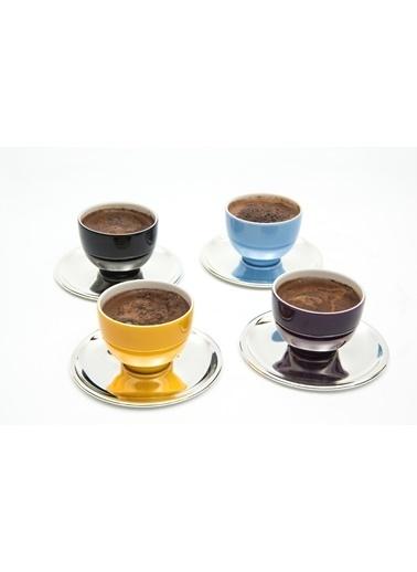 Decoristan Renkli Mırra Kahve Fincanı, Gümüş Tabaklı 4 lü Renkli